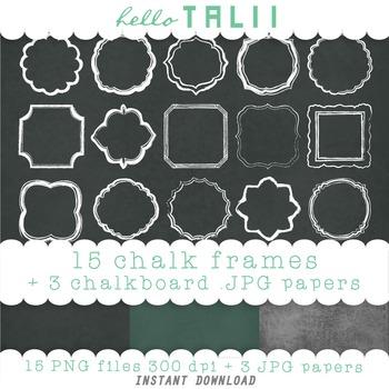 Clip Art: 15 Chalk Frames + 3 Chalkboard Digital Papers