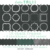 Clip Art: 15 Chalk Frames + 3 Chalkboard Digital Papers