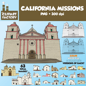 Clip Art: 21 California Missions