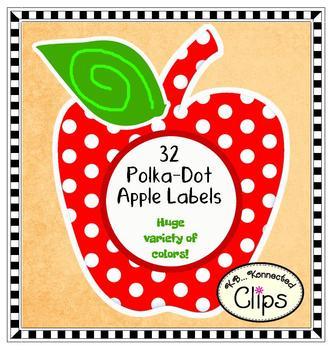 Clip Art -32 Polka-Dot Apple Labels