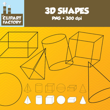 Clip Art: 3D Shapes - Assorted 3 dimensional Shapes