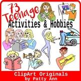 Clip Art 73 Teenage Hobbies & Activities: Variety In Color & Black/White