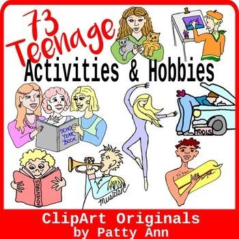 Teenage Clip Art 73 Hobbies Activities Jpeg Variety In Color Black White