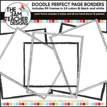 Clip Art: 84 Colorful Doodle Page Borders