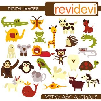 Clip Art: ABC Alphabet Animals (26 graphics) zoo clipart