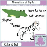 Clip Art Alphabet Animals A-Z in Color and B&W