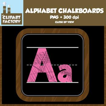 Clip Art: Alphabet Chalkboards - Colorful Alphabet Letter Set