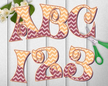 "Clip Art Alphabet Curly Swashes & Chevrons, 95 pcs - 4"" High,  PDF and PNGs"