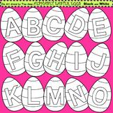 Clip Art Alphabet Easter Eggs in black and white