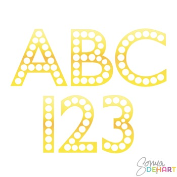 Alphabet - Gold Marquee Letters Clipart