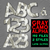 "Clip Art Alphabet,Gray Woodland Camo, 192 PNGs, 3"" 300DPI, 2-96-PG. Vector PDF"