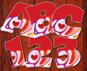 "Clip Art Alphabet, Love! Valentine's, 96 PNGs, 2.5"" 300DPI  FREE"