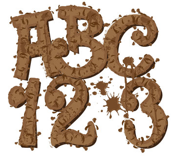 "Clip Art Alphabet, Mud Pies!, 96 PNGs, 4"" 300 DPI  Vector and PNG"