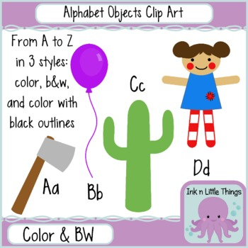 Clip Art Alphabet Objects in Color and B & W