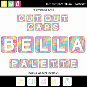 Clip Art Alphabet PALETTE BELLA CUT OUT CAPS Printable Letters Numbers