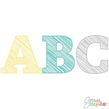 Alphabet - Scribble Letters for Boys Clipart