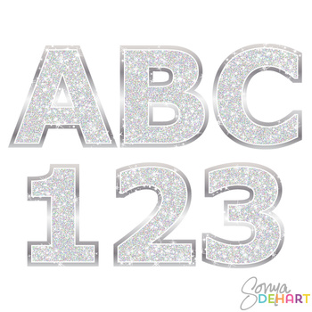 Alphabet - Silver Glitter Clipart