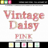 Clip Art Alphabet VINTAGE DAISY PINK Printable Letters Numbers