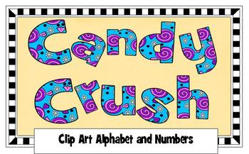 Clip Art Alphabet and numbers: Candy Crush