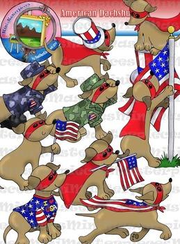 Clip Art: American Flag Dachshunds
