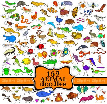 Clip Art Animals Hand Drawn Cartoon Doodles Mega Pack