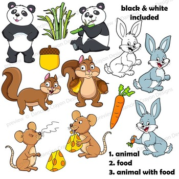 Clip Art Animals and their Food | Clipart BUNDLE by ...