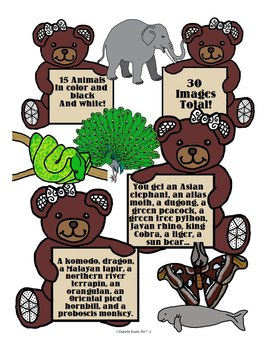 Clip Art - Animals of Southeast Asia 1 - Easy Commercial Use TOU