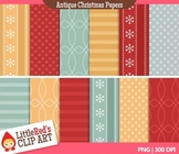 Clip Art: Antique Christmas Backgrounds - 12 Digital Paper Patterns