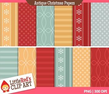 Clip Art: Antique Christmas Backgrounds - 12 Digital Paper Patterns