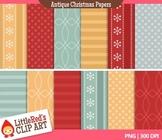 Clip Art: Antique Christmas Backgrounds - 12 Digital Paper
