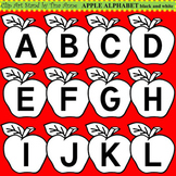 Clip Art Apple Alphabet black and white