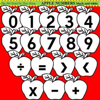 Clip Art Apple Numbers black and white
