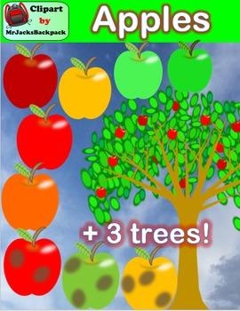 Clip Art - Apples & Apple Trees Clipart (3 Apple Trees!)