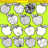 Clip Art Apples in black and white