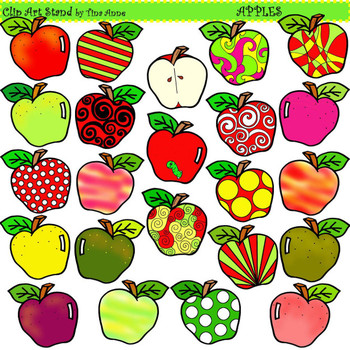 Clip Art Apples in color