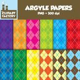 Clip Art: Argyle Backgrounds - 12 Digital Paper Patterns