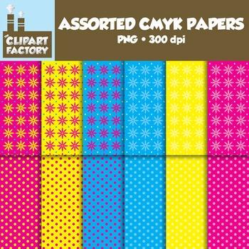 Clip Art: Assorted CMYK Backgrounds - 12 Digital Paper Patterns