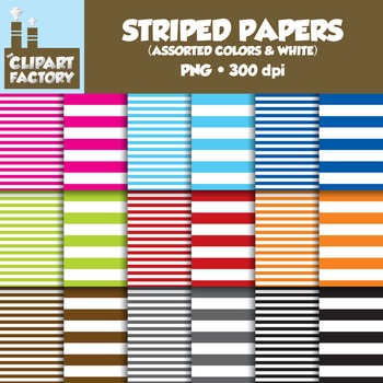 Clip Art: Assorted Colors & White Striped backgrounds - 18 Digital Papers