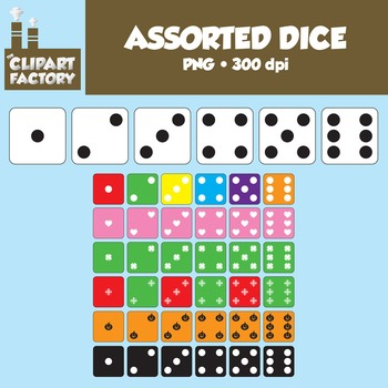 Clip Art: Assorted Dice-Holiday Themes Included