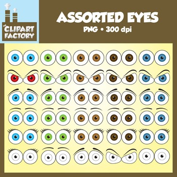 Clip Art: Assorted Eyes Pack - Eyes in various expressions and colors