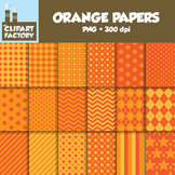 Clip Art: Assorted Orange Background Patterns - 18 Digital Papers