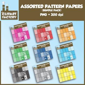 Clip Art: Assorted Pattern Paper Bundle-Assorted Colors - 162 Digital Papers