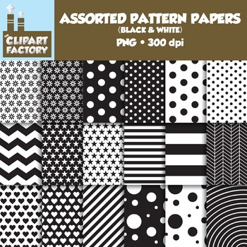 Clip Art: Assorted Patterns-Black & White - 18 Digital Papers