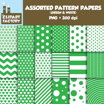 Clip Art: Assorted Patterns-Green & White - 18 Digital Papers