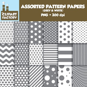 Clip Art: Assorted Patterns-Grey & White - 18 Digital Papers