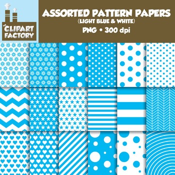 Clip Art: Assorted Patterns-Light Blue & White - 18 Digital Papers