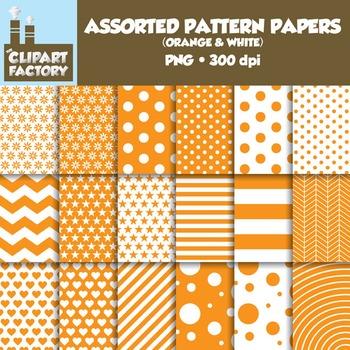 Clip Art: Assorted Patterns-Orange & White - 18 Digital Papers