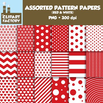 Clip Art: Assorted Patterns-Red & White - 18 Digital Papers