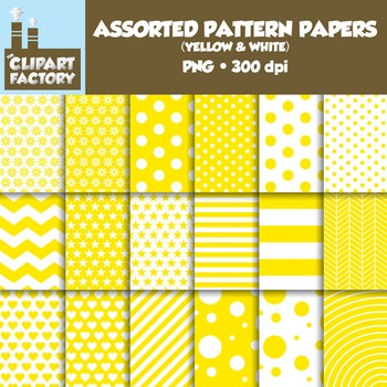 Clip Art: Assorted Patterns-Yellow & White - 18 Digital Papers