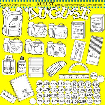 Clip Art August in black and white